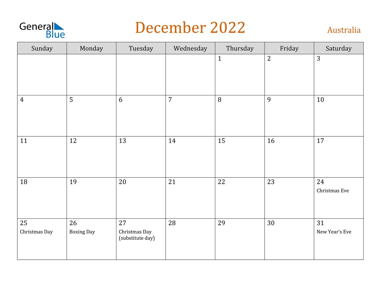 December 2022 Calendar - Australia