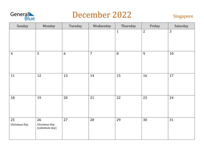 Image of December 2022 Contemporary Orange PDF, Word and Excel Calendar Calendar