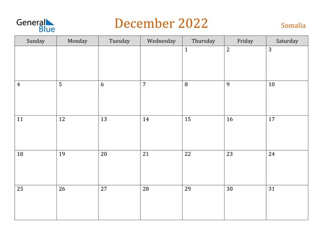 December 2022 Holiday Calendar