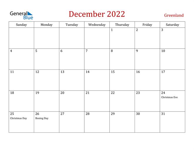 Greenland December 2022 Calendar