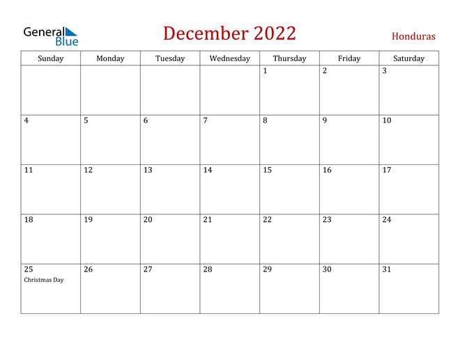Honduras December 2022 Calendar
