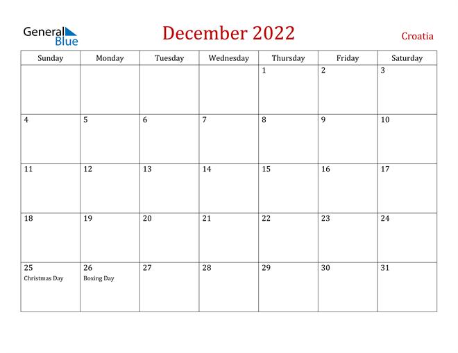 Croatia December 2022 Calendar