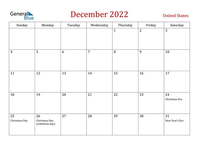 September October November December 2022 Calendar.United States December 2022 Calendar With Holidays