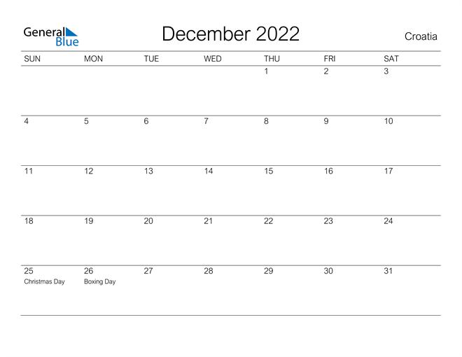 Printable December 2022 Calendar for Croatia