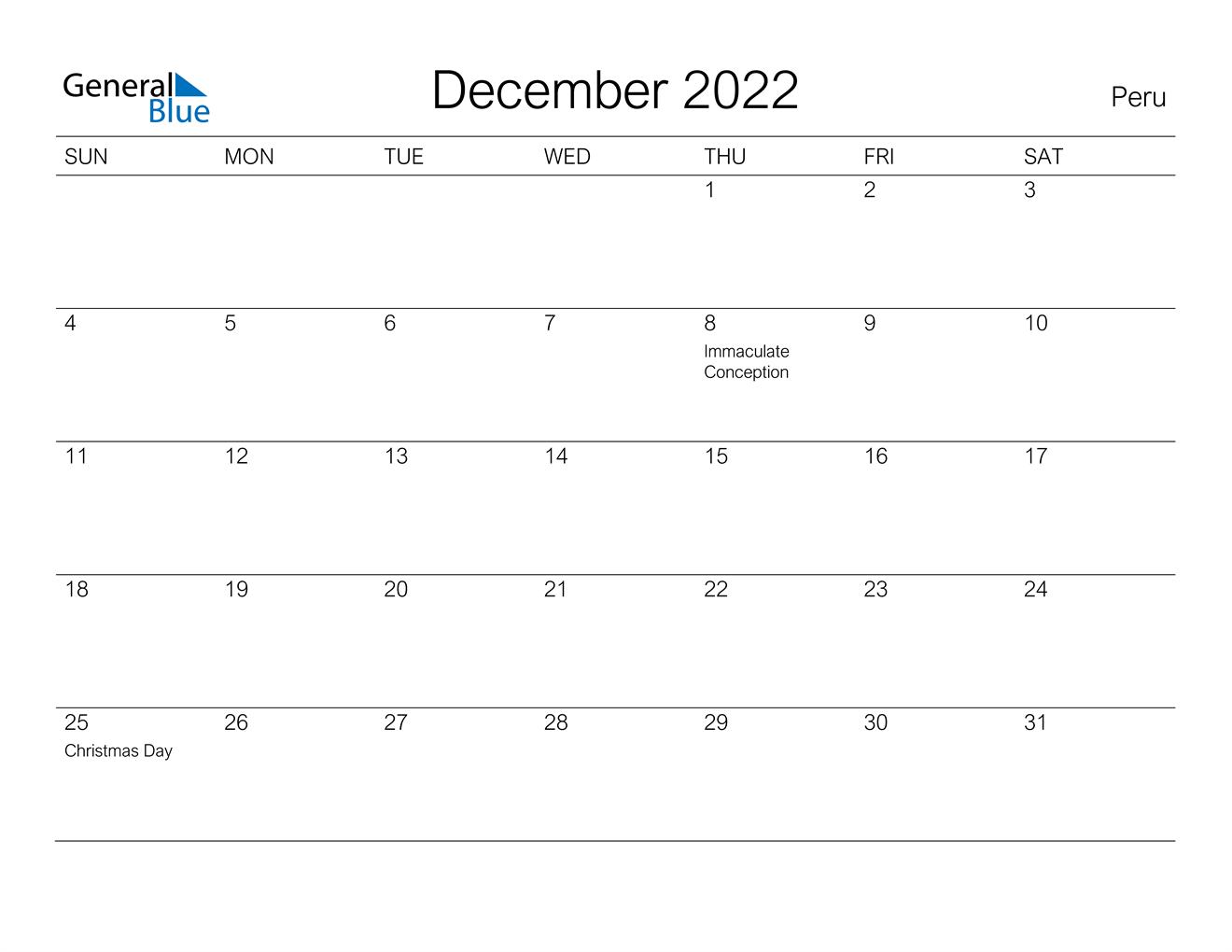 December 2022 Calendar - Peru