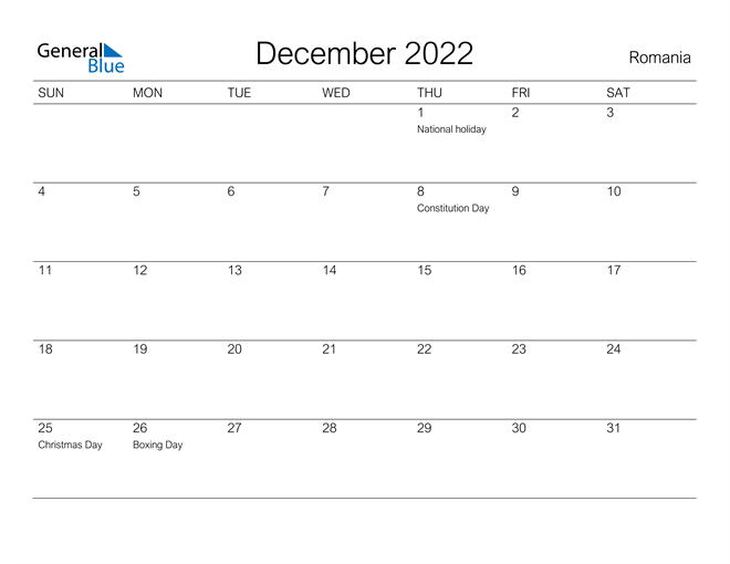 Image of December 2022 A Streamlined Design, The Perfect Printable Calendar. Calendar