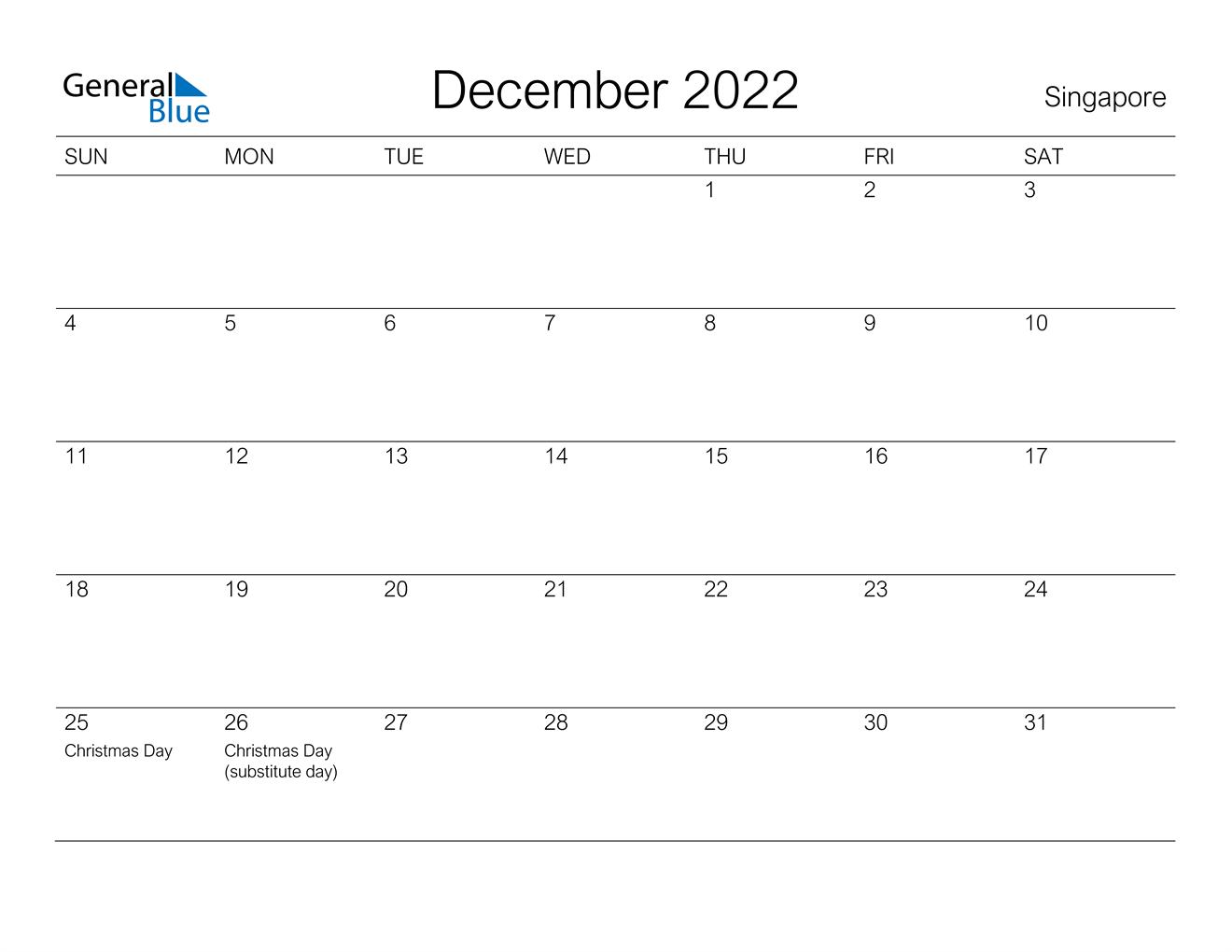 December 2022 Calendar - Singapore