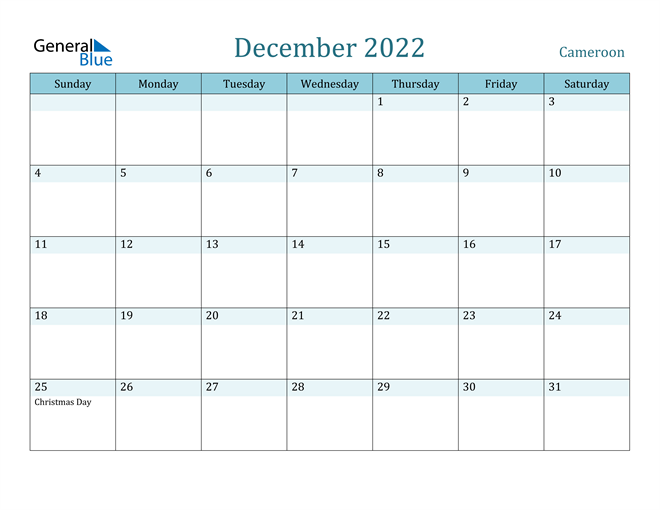 December 2022 Calendar with Holidays in PDF, Word, and Excel