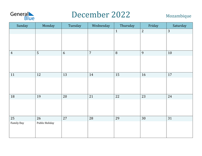 Image of December 2022 Colorful Turquoise Calendar in PDF, Word and Excel Calendar
