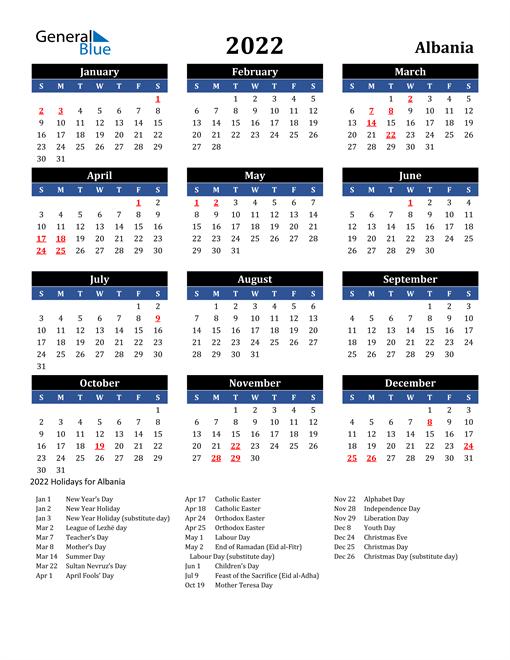 2022 Albania Free Calendar