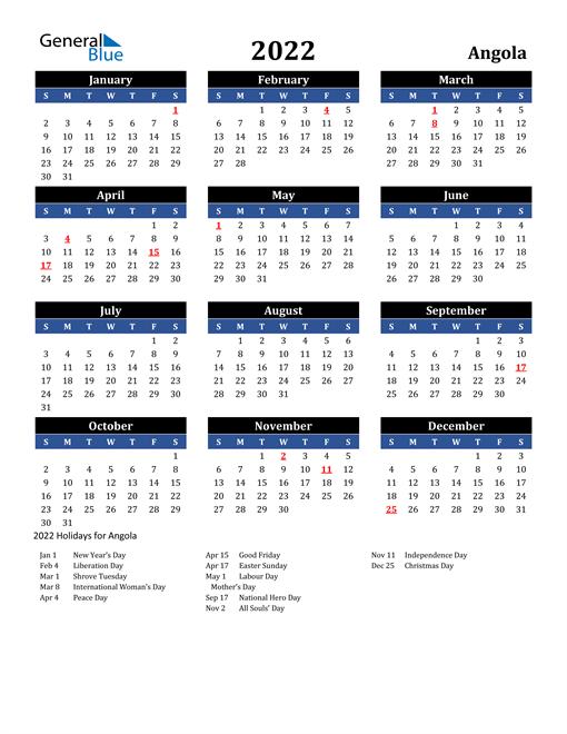 2022 Angola Free Calendar
