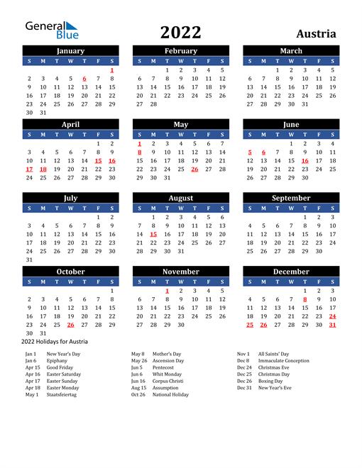 2022 Austria Free Calendar