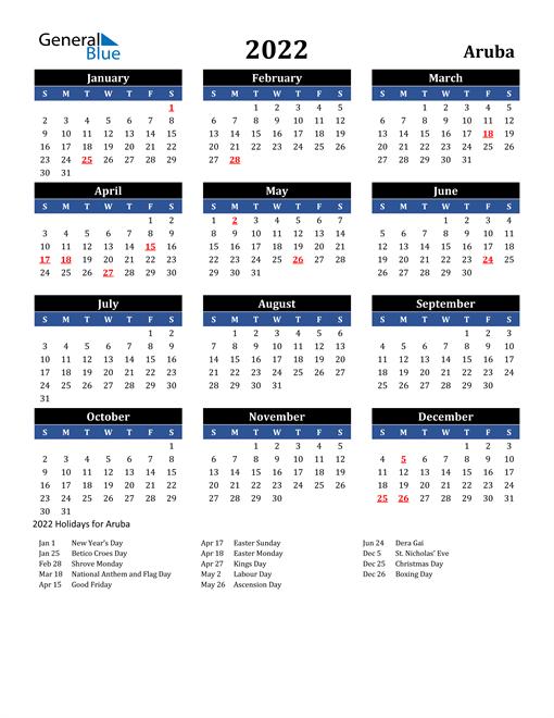 2022 Aruba Free Calendar