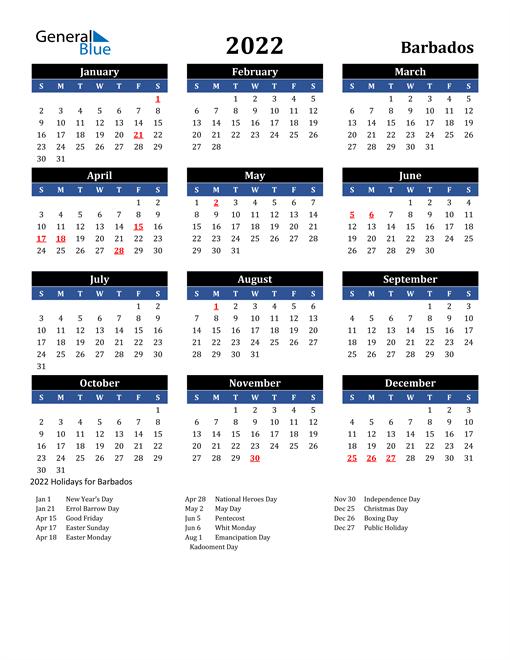 2022 Barbados Free Calendar
