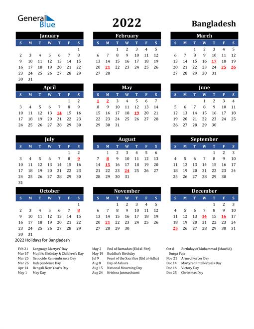 2022 Bangladesh Free Calendar