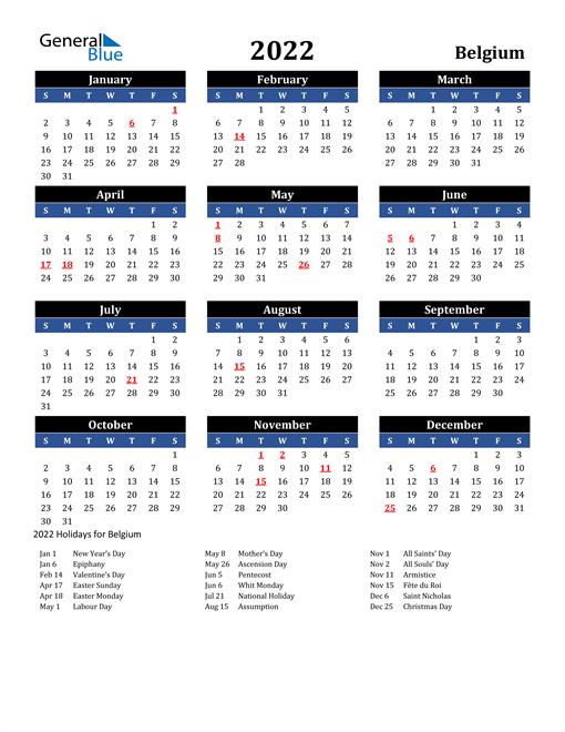 2022 Belgium Free Calendar