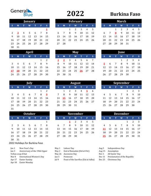 2022 Burkina Faso Free Calendar