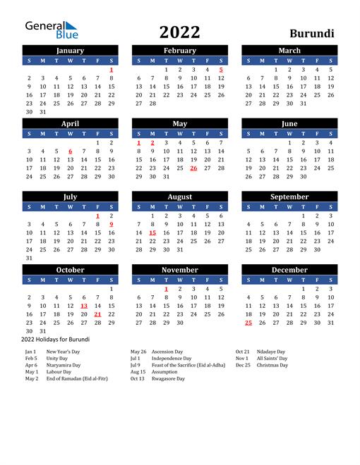 2022 Burundi Free Calendar