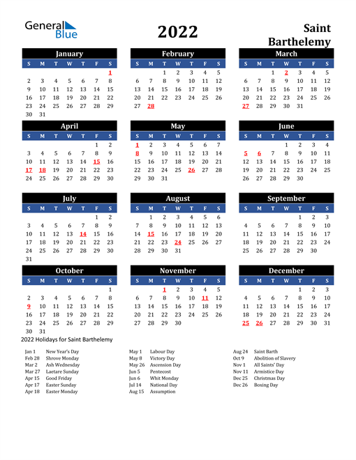 2022 Saint Barthelemy Free Calendar