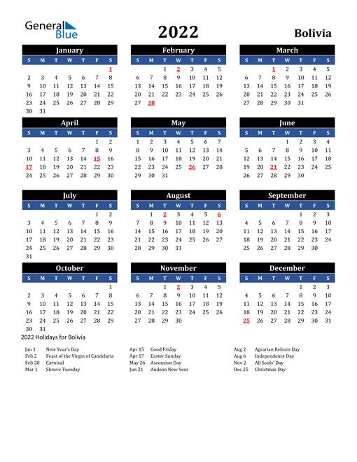 2022 Bolivia Free Calendar