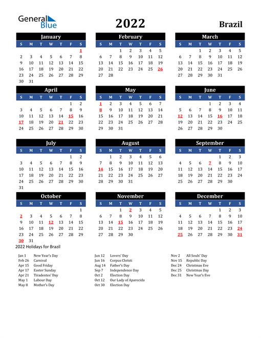 2022 Brazil Free Calendar