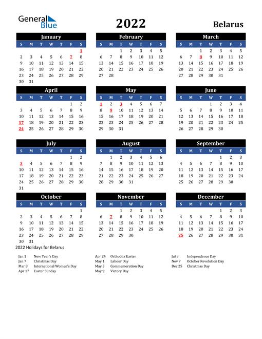 2022 Belarus Free Calendar