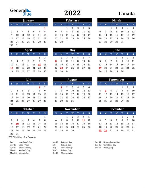 2022 Canada Free Calendar