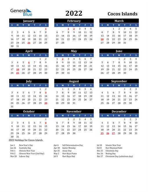 2022 Calendar - Cocos Islands with Holidays