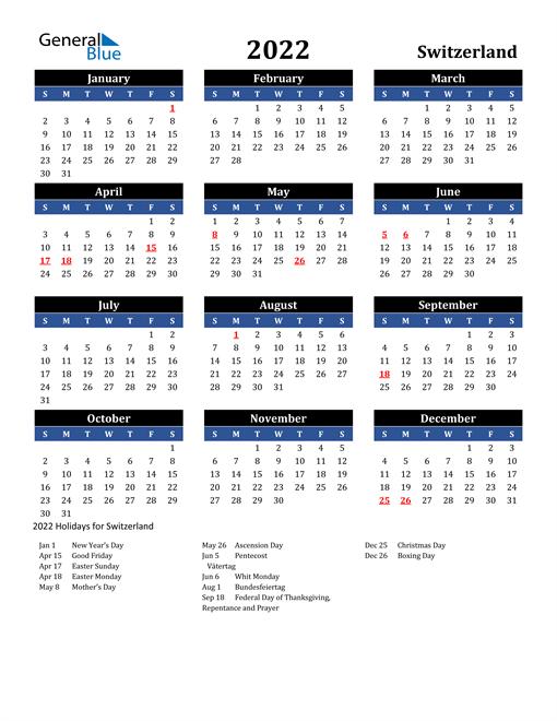 2022 Switzerland Free Calendar