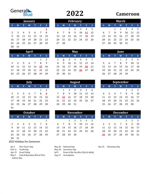 2022 Cameroon Free Calendar