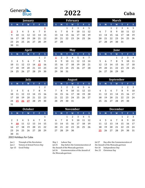 2022 Cuba Free Calendar