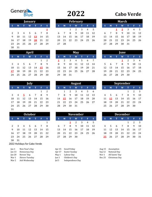 2022 Cabo Verde Free Calendar