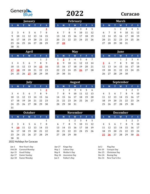 Image of Curacao 2022 Calendar in Blue and Black with Holidays