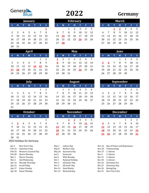 2022 Germany Free Calendar