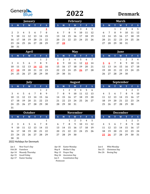 2022 Denmark Free Calendar