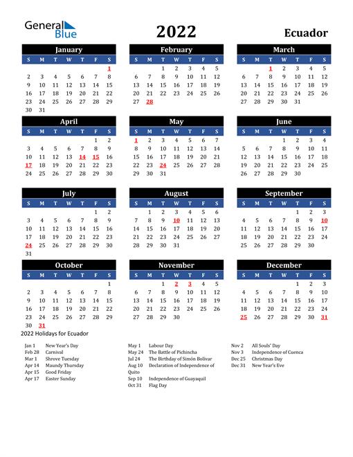 2022 Ecuador Free Calendar