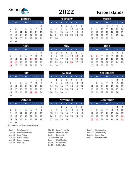 2022 Faroe Islands Free Calendar