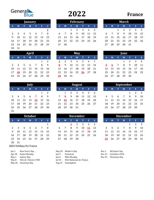 2022 France Free Calendar