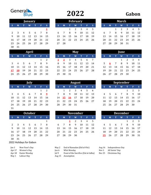 2022 Gabon Free Calendar