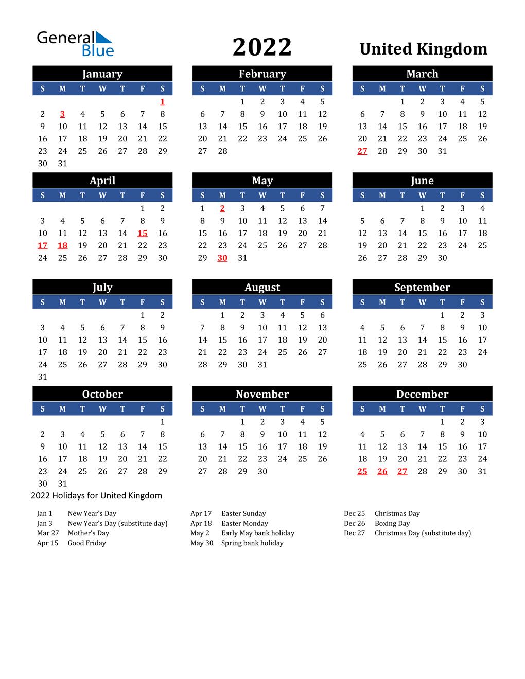 Timeanddate 2022 Calendar.2022 United Kingdom Calendar With Holidays