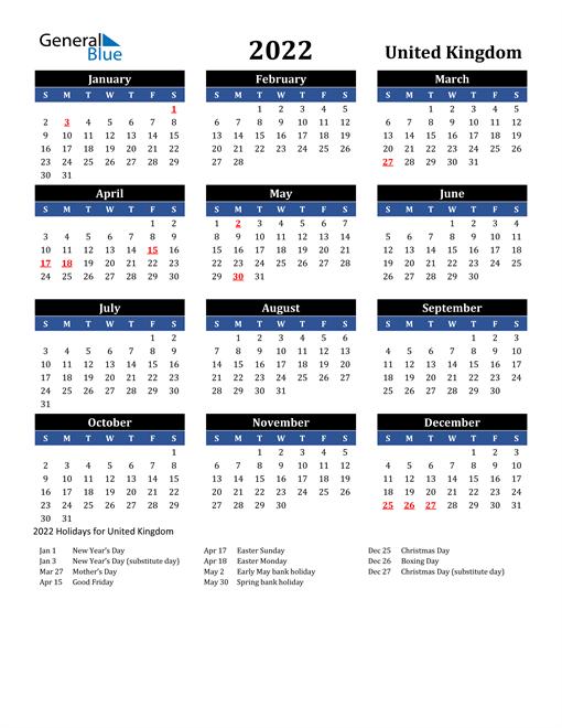 2022 United Kingdom Free Calendar
