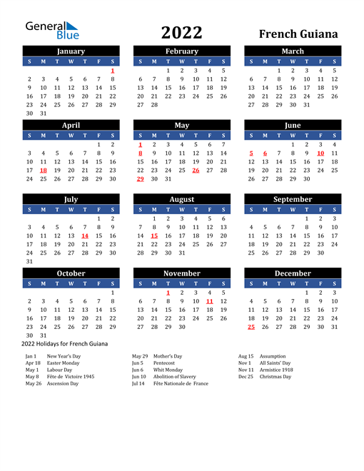 2022 French Guiana Free Calendar