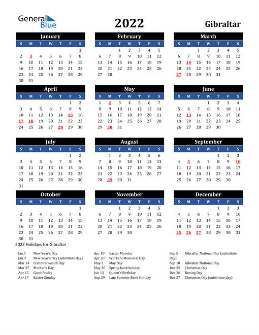 2022 Gibraltar Free Calendar