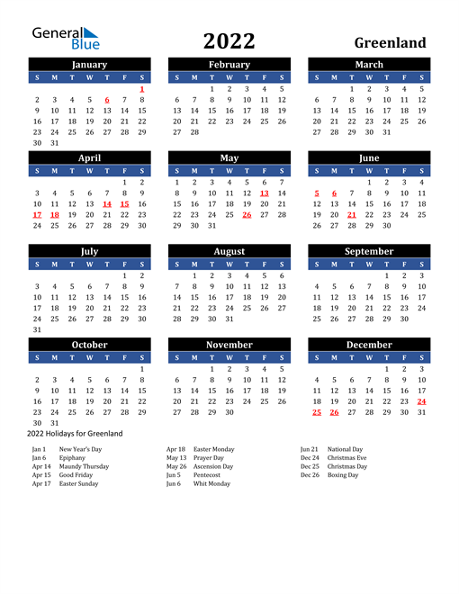 2022 Greenland Free Calendar