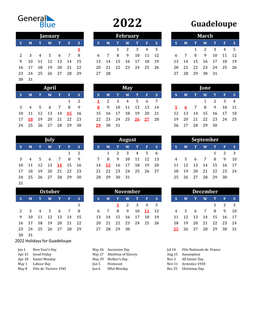 2022 Guadeloupe Free Calendar