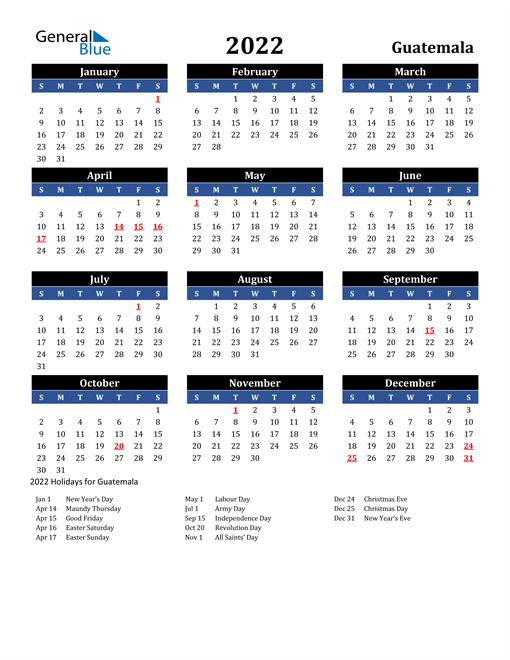 2022 Guatemala Free Calendar