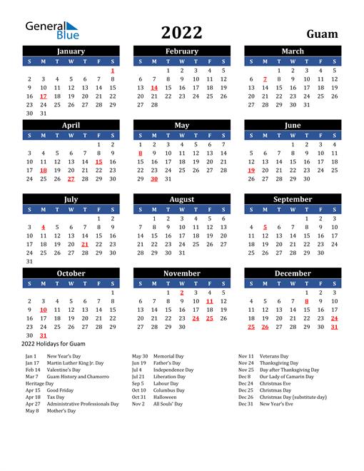 2022 Guam Free Calendar