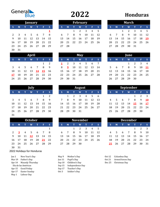 Image of Honduras 2022 Calendar in Blue and Black with Holidays