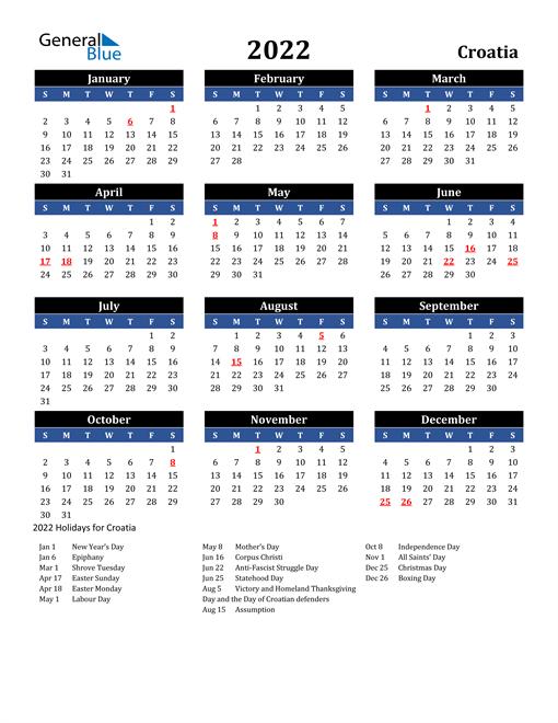 2022 Croatia Free Calendar