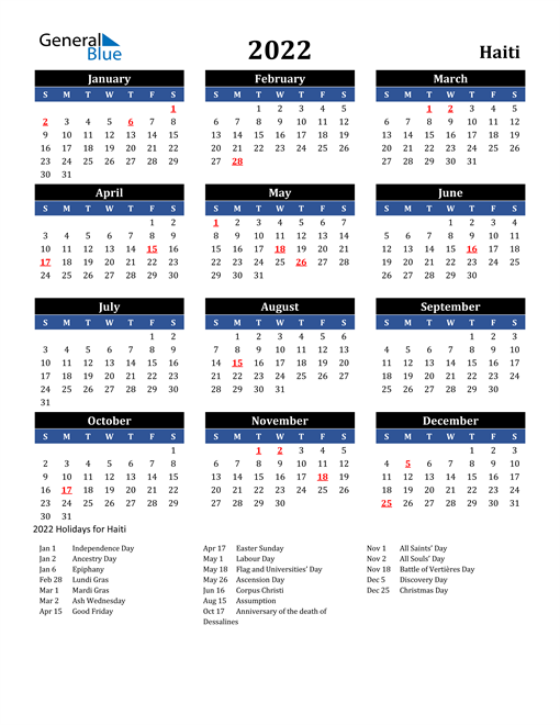 2022 Haiti Free Calendar